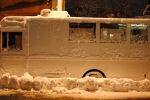 Food truck covered in snow after a Blizzard
